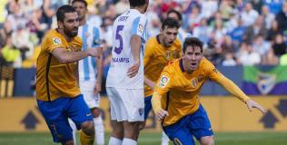 Messi comienza el festejo de su golazo. (Foto. AP)