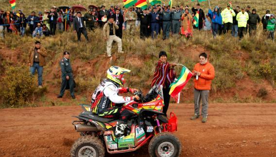El presidente de Bolivia, Evo Morales, presente en la competencia.