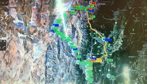 Esta es la imagen satelital que muestra a los vehículos que aún no llegaron a Salta.