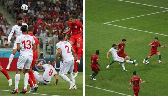 Dos partidos, los mismos colores. Izquierda, Túnez-Inlgaterra; derecha, España-Portugal.