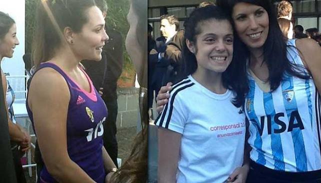 Las nuevas camisetas de las Leonas: la violeta y la clásica. (Foto: Télam).