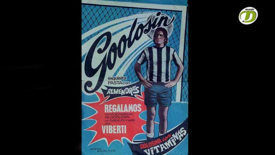 Publicidad de concurso de una golosina española con la cara de Sebastián Viberti. 1971. (Foto: La Voz).